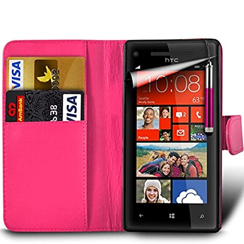 Samsung Galaxy A7 2nd Gen / SM-A717 (2016) Premium PU Leather Wallet Flip Skin Case Cover in HOT PINK with RETRACTABLE Capacitive Stylus Touch Screen Pen