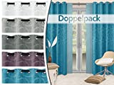 Doppelpack - Ösenvorhänge mit grafischer Musterung - Wohndekoration in elegantem Design - blickdichtes Jacquardgewebe - in 5 Unifarben, petrol