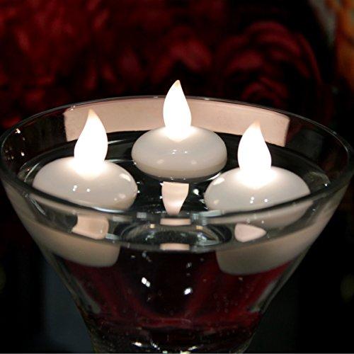 12 candele led galleggianti bianche - lumini a batteria per piscina, laghetto, vasca da bagno, matrimonio di pk green
