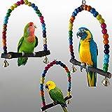 TREESTAR 1 pezzo dondolo colorato pappagallo giocattolo casetta per uccelli perline di legno multicolore amaca Swing giocattolo per piccoli pappagalli Nymphensittiche Conures Aras Pappagalli Amore Uccelli Finken