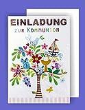 Feste Feiern zur Kommunion I 5 Teile Einladung Doppelkarten mit Briefumschlägen I Baum Boot Ölzweig bunt