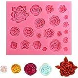 Lot de 1 moules en silicone en forme de rose et de feuille, pour chocolat, pâte à sucre, savon, décoration de gâteau, outil d