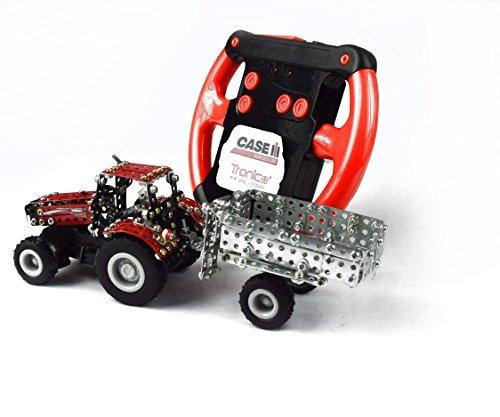 RC Auto kaufen Traktor Bild 2: Tronico 09581 - Metallbaukasten Traktor Case IH Magnum 340 mit Kippanhänger und Fernsteuerung, Maßstab 1:64, Micro Serie, rot, 461 Teile*