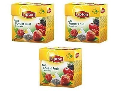 Lipton - Thé Noir aux Fruits des Bois - 20 Sachets Pyramide dans Chaque Paquet (3 Paquets au Total)