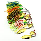 hengjia Lot de 5spinnerbaits Cuillère en métal Leurre de pêche 0.57oz/8,5cm pour appât Pike Basse Swimbait