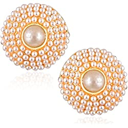 Meenaz Fashion Jewellery Traditional Gold plated Pearl Crystal Earrings for women party wear stylish designer Wedding jewellery Set Ear ring studs for girls- earrings studs-172