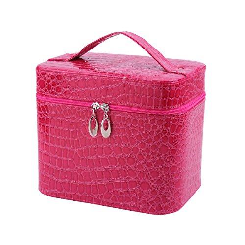 Jia Qing Sacchetto Cosmetico Portatile Impermeabile Delle Signore Sacchetto Cosmetico Portatile Multifunzionale Di Grande Capacità Sacchetto Cosmetico Generale Del Sacchetto Cosmetico RoseRed