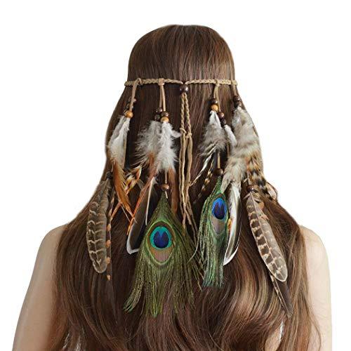 Simsly Boho Feder Stirnband Hippie Indisches Kopfstück 1920er Jahre Feder Kopfkette Haarschmuck Zubehör Kopfschmuck für Damen und Mädchen (Style ()
