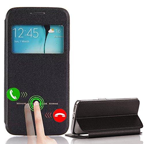 Vandot Flip PU Housse Étui En Cuir pour Samsung Galaxy S6 Edge SM-G925 Coque avec View Window De Style Portefeuille Protection Case Cover Hull - Noir