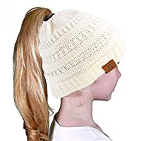 Autone Kids Girl Winter Warm Knitted Elasticity Ponytail Beanie Hat, Solid Color Crochet Ribbed Knitted Messy Bun Ponytail Holey Cap for 3-10 years old Kids (Milk White)