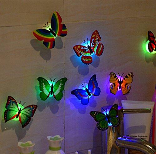 Fluoreszenz Schmetterling Abnehmbare Stück 3D PVC Aufkleber entfernbares Wandsticker Punkte für Kinderzimmer Deko Wand-Dekor ()