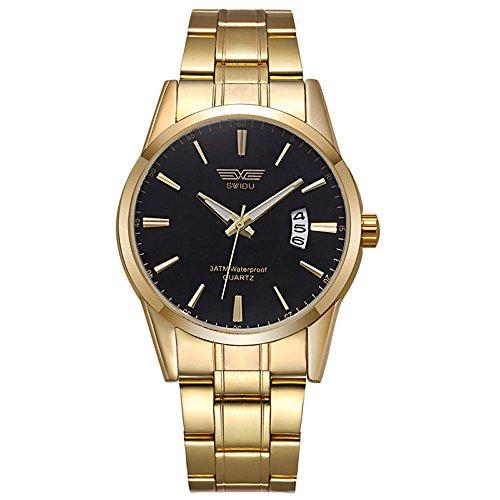 XLORDX Luxus Herren Armbanduhr Datum Analog Quarzuhr Gold Edelstahl Sport Uhren Schwarz