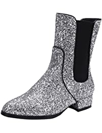 AIYOUMEI Damen Glitzer Flach Stiefeletten Bequem Ankle Boots Berbst Winter Stiefel Schuhe hw0x3N1F
