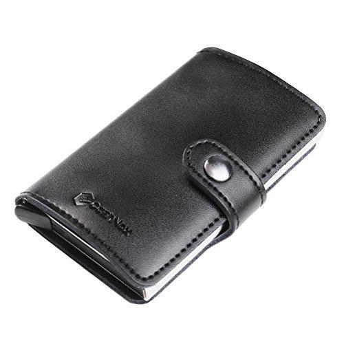 RFID Carte de crédit Titulaire de Automatique Pop-up En aluminium Blocage Étui en cuir Entreprise Slim Mini Porte-monnaie (003Noir Cuir Veritable)