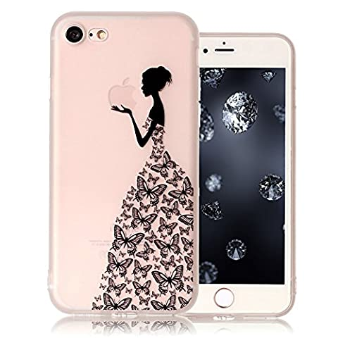 iPhone 8 Bumper, Durchsichtig Silikonhülle für iPhone 8 (4.7), Aeeque 3D Relief Slim Weich Muster Gel Klar Rahmen Flexibel Handy Schützt Skin Shell Hülle Tasche Backcase für iPhone 8 4.7 Zoll 2017 - Elegant Schmetterling Mädchen