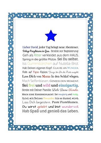 Geschenk für Baby oder Neugeborene - Bild für Jungen in DIN A4: Personalisierte Geschenkidee als Gastgeschenk für Geburtstag - Gastgeschenk Geburt (Ersten Papier Geburtstag Waren)