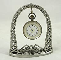 Handcrafted Pewter Ladies Pocket Watch Stand Celtic Arch Design Made in England | pwstand03