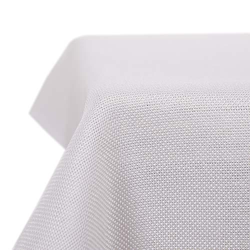 Deconovo Tischdecke Leinenoptik Lotuseffekt Tischwäsche Wasserabweisend Tischtuch 130x220 cm Weiß