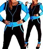 Damen Jogging-Anzug Uni Colour Design 586, Trainings-Hose-Jacke-Anzug aus 100% Baumwolle, mit Kapuze und Rippstrickbündchen, von S bis 3XL (S, Schwarz Türkis - fällt klein aus)