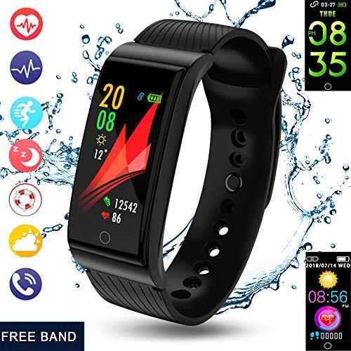 andmei Fitness-Tracker, 2018 Activity Tracker mit Schwimmen Herzfrequenz-Blutdruck-Monitore Bluetooth Schlaf-Monitor Wetter Sport SMS SNS Erinnerung für iOS Android-Telefone Männer Frauen Kinder