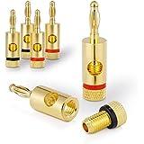 Sentivus 4x Bananenstecker 24k vergoldet - für alle Lautsprecherkabel bis 6mm² - 4 Stück (2 Rot, 2 Schwarz)