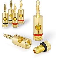 Sentivus SC000-04 Bananenstecker Premium (4er-Set) für alle Lautsprecherkabel mit einem Durchmesser von max. 6mm², 4 Stück mit Farbcodierung (2x rot, 2x schwarz), 24k vergoldet