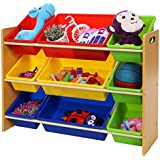 Songmics Estantería organizadora para juguetes libros habitación infantil 3 niveles Multicolor GKR02Y