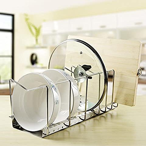 KES Stainless Steel Dish Rack Kitchen Pot Pan Lid Cutting Board Adjustable Organizer Holder with Drain Tray for Cabinet and Pantry Storage Organization, 6 Compartments,