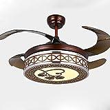 YFF@ILU Stealth Fan Light Restaurant, 42 Zoll Deckenventilator Licht home Dekorationen Beleuchtung Dimmer mit Fernbedienung, E