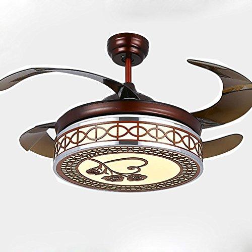 SAEJJ-Ristorante luce Stealth ventilatore, ventilatore a soffitto 42 pollici luci decorazioni per la casa illuminazione dimmer con telecomando,E