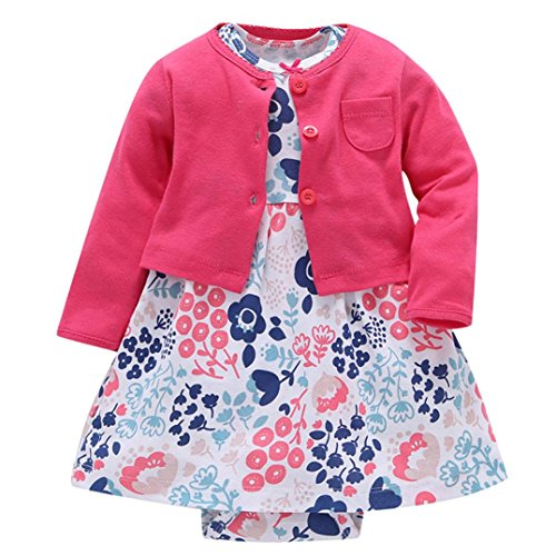 Mädchen Kleid + Mantel Kleidung Set,OverDose Neugeborenen Baby Mädchen Floral Blumen Bluse Kleid + Feste Mantel Outfits Kleidung Set(6 Monate,Hot Pink) (Hose Kleid Plissee)