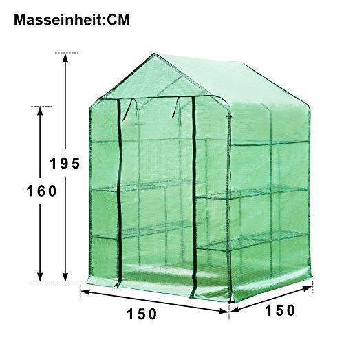 flieks-foliengewaechshaus-begehbar-treibhaus-tomatenhaus-gewaechshaus-fuer-tomaten-gitterplane-mit-8-ablagen-anzucht-stabiler-metallrahmen-pe-150x150x195-gruen-3
