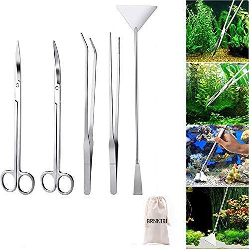 Signstek 5 in 1 Aquarium Set Pinzette Schere Kiesspatel Spachtel Werkzeug aus Edelstahl für die Pflanzenpflege und Gestaltung in Aquarien