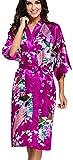 OLIPHEE Lange Kimonos für Damen Bademantel aus Satin mit Pfau und Blüten Morgenmantel Robe Dunkellila M
