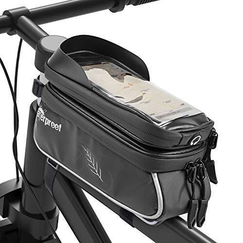 Fahrrad Rahmentasche,Wasserdichte Fahrradtasche Handytasche TPU Touch-Screen Fahrradlenkertasche mit Kopfhörerloch Oberrohrtasche für Handys bis 6 Zoll -