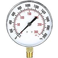 KKmoon 0~300psi 0~2000kpa Medidor de presión de aire de agua mecánico Filtro de piscina Medidor de medidor de presión de manguera de agua de fuego acuario 1/4 pulgadas NPT Montaje inferior