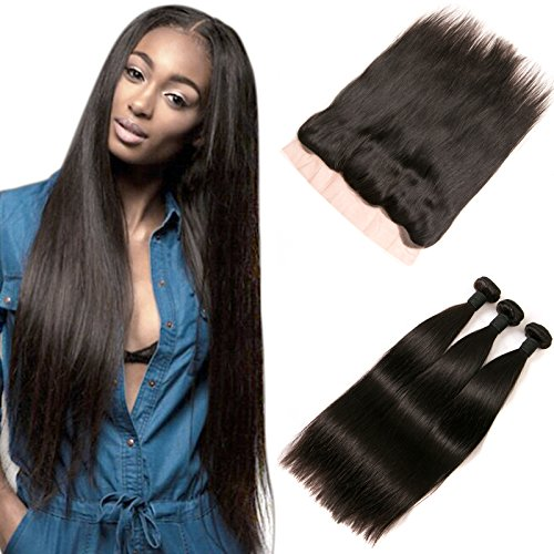 DAIMER Lace Frontal Closure Echthaar Free Part 4x13 Top Lace Closure with Baby Hair Bleached Knots and Peruvian Human Hair Weave 3 Bundles Natural Color 16 18 20 +14 Frontal