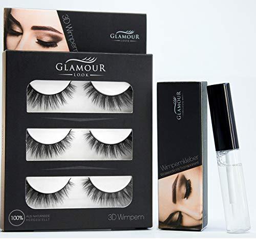 GlamourLook Professional 3D Wimpern Set - mit Wimpernkleber - 3 Paar künstliche wimpern/falsche wimpern/wimpern fake lashes - wiederwendbare fake wimpern - Schneller Versand & Beste Qualität
