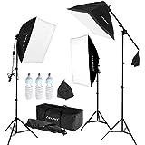 CRAPHY Softbox Set, Softbox Dauerlicht mit 3x Softboxen, 3x Fotolampen(135W) und 3x Lampenstative, Studioleuchte Set mit Auslegerarm und Tragetasche, Fotostudio Set für Green Screen, Portrait, Modefotografie und Videoaufnahme