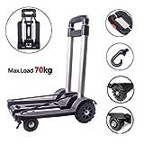 Trolley pieghevole, Carrello a mano pieghevole Capacità 70kg, Carrello di utilità costruzioni solide a 4 ruote per bagagli, uso personale, da viaggio, auto, in movimento e da ufficio