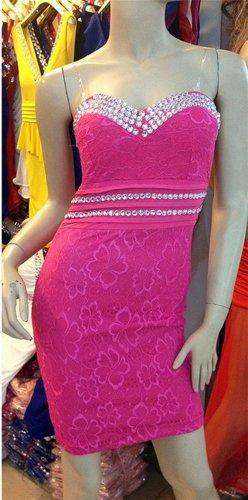 QIYUN.Z Bling Paillettes Mounte Bustier Clubwear Troncon Court Robe Femmes Clubwear Nuit Robe Soiree Cocktail Club Femmes Rose