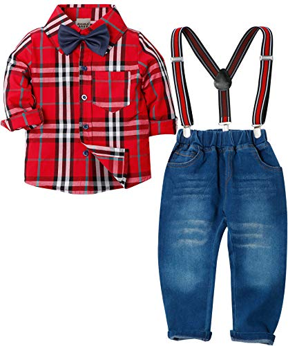 Zoerea Baby Jungen Bekleidungssets Hosen & Shirt Gentleman Hosenträger Krawatte Jeans Kleinkind Outfits Rotes Plaid,Größe 100 (Rote Hosenträger Baby)