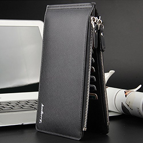 Young & Ming - Herren-Geldbörsen Long Leder Brieftasche Kartenhalter für Männer männlich mit mehr als 20 Karten-Slots und 2 Taschen Reißverschluss Schwarz