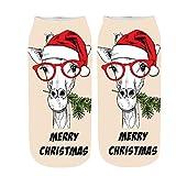 Selou Geschlechtlose und bequeme Weihnachtsbaumwollsocken Pantoffel Socken Bedruckte Söckchen Boot SockenPaar Socken Midrohrsocken Boden Socken Verdicken Sie bequeme Schlafsocken