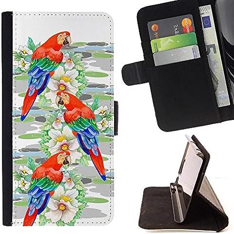 LG X Mach / X Fast - Disegno di cuoio stile del raccoglitore della Case di telefono della pelle custodia protettiva (Parrot Uccello Acquarello Pittura)