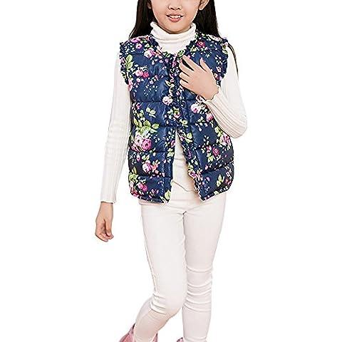 LaoZan Chaqueta Acolchado Infantil Chaleco Sin Mangas Abrigo Para Niñas - Armada, 110