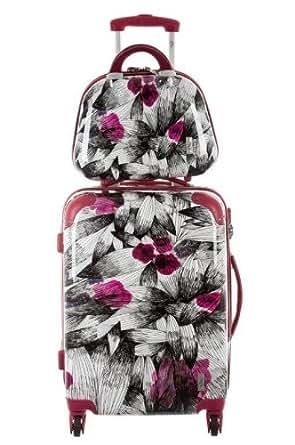 Valises, trolleys Corinne Cobson pour Mode femme, Modèle 9839 Valise + Vanity - FLORA ROSE
