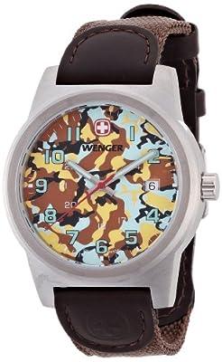 Wenger 10441109 - Reloj analógico de cuarzo para hombre con correa de nylon, color marrón de Wenger