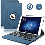 Dingrich - iPad aire 2 Teclado caso, 360 Degree funda giratoria para iPad + teclado Bluetooth inalámbrico, magnético y desmontable + Protector de pantalla + lápiz capacitivo (funda de piel), Azul oscuro