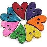 Fablcrew 100 Pezzi a Set Bottoni in Legno Colorati a Forma di Cuore Pulsanti Bottoni Decorativi da Cucire Size 21 x 17 mm